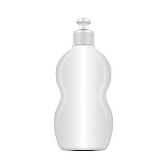Biała butelka na płyn do mycia naczyń. realistyczny szablon