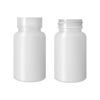 Biała butelka na tabletki, makieta 3d