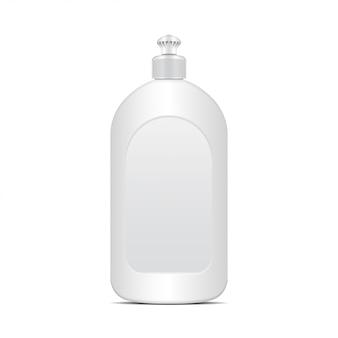 Biała butelka płynu do mycia naczyń lub mydła. realistyczny szablon