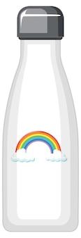Biała butelka termiczna z tęczowym wzorem