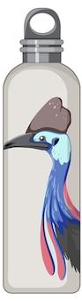 Biała butelka termosu z ptasim zwierzęcym wzorem