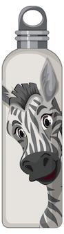 Biała butelka termosu z wzorem zebry