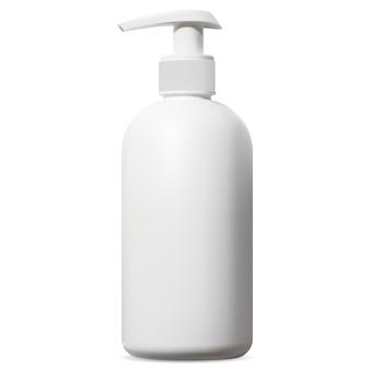 Biała butelka z dozownikiem. opakowanie kosmetyczne z pompką do szamponu, pianki do golenia lub żelu pod prysznic do ciała