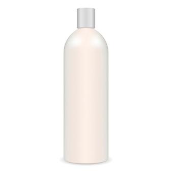 Biała butelka z szamponem. kosmetyk.