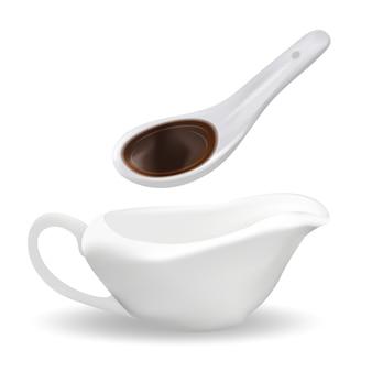Biała ceramiczna łyżka z sosem sojowym i sosjerką. 3d realistyczny styl. kuchnia azjatycka. pojedynczo na białym tle. .