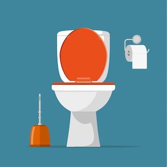 Biała ceramika toaletowa, papier toaletowy i szczotka toaletowa