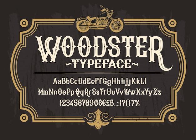 Biała czcionka serif, alfabet, cyfry i symbole