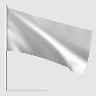 Biała czysta flaga macha poziomo. makieta flagi.