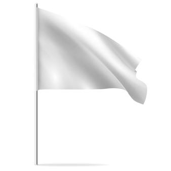 Biała czysta pozioma machająca flaga szablonu