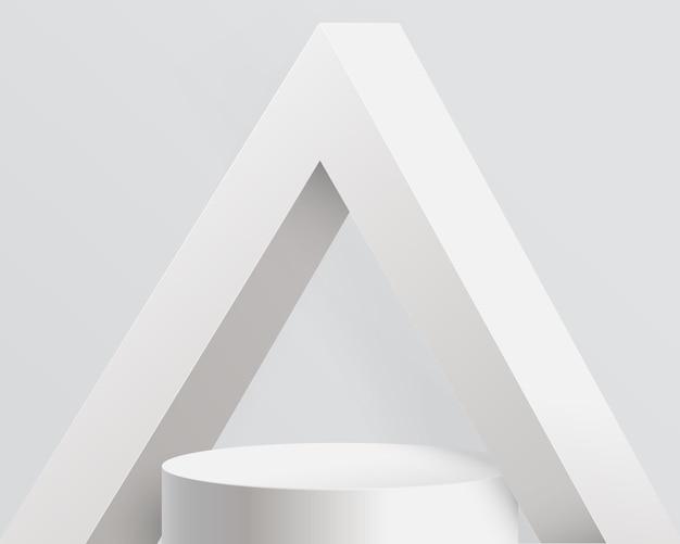 Biała ekspozycja produktów z betonowym wnętrzem o abstrakcyjnej architekturze triangle. podium 3d.