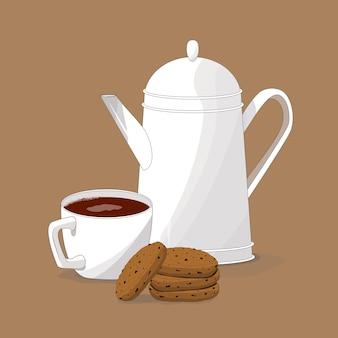 Biała filiżanka z kawą. biały imbryk i filiżanka.