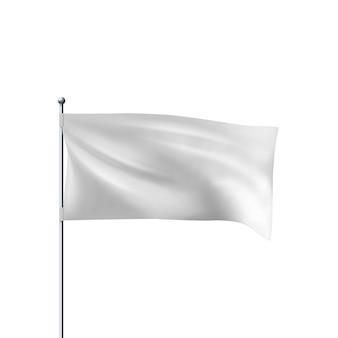 Biała flaga na wietrze. realistyczny szablon wektor poziomej flagi 3d do reklamy i projektowania.