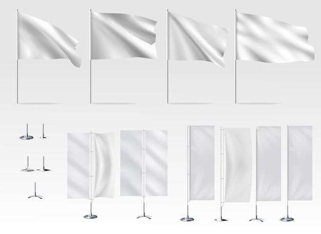 Biała flaga zestaw ilustracji