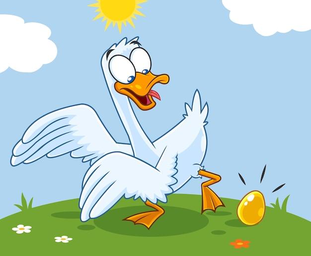 Biała gęś postać z kreskówki ze złotym jajkiem