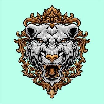 Biała głowa tygrysa z ornamentem