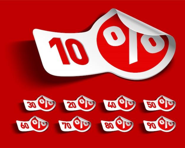 Biała i czerwona sprzedaży promocja przylepia etykietkę ilustrację