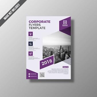 Biała i fioletowa broszura biznesowa