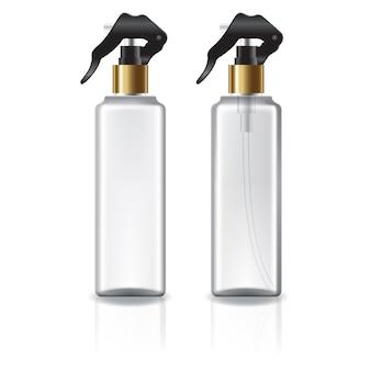 Biała i przezroczysta kwadratowa butelka kosmetyczna ze złotą głowicą natryskową.