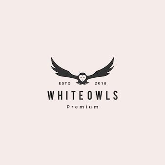 Biała ikona logo wektor sowa