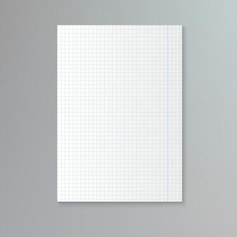 Biała kartka papieru w kratkę.