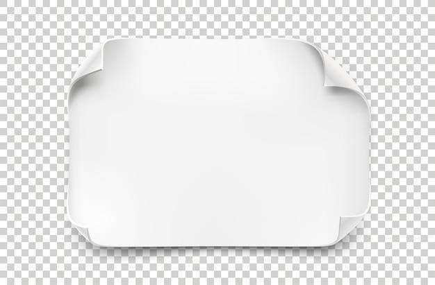 Biała kartka papieru z zakrzywionymi narożnikami i miękkim cieniem na przezroczystym