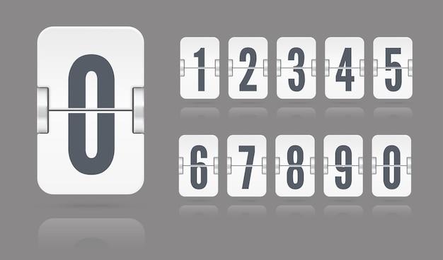 Biała klapka mechaniczna tablica wyników pływające z odbiciami na szarym tle. szablon wektorowy licznika czasu lub minutnika strony internetowej