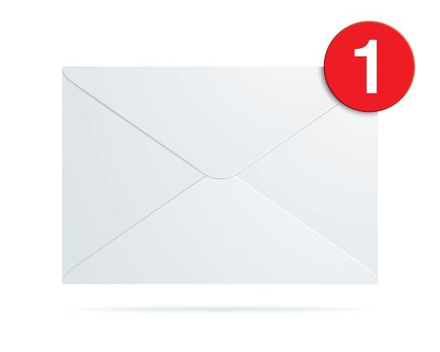 Biała koperta z ikoną nieprzeczytanej wiadomości