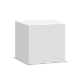 Biała kostka. kwadratowe pudełko. ilustracja.