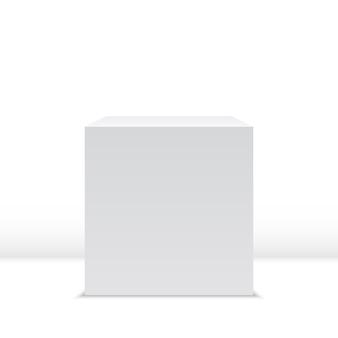Biała kostka. pudełko. ilustracja.
