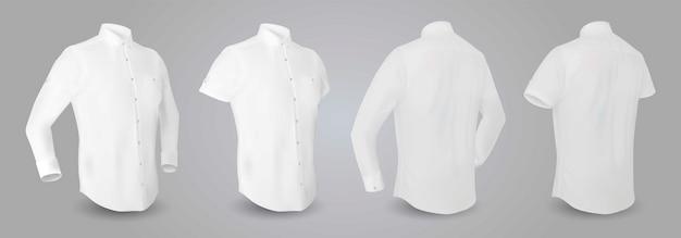 Biała koszula męska z długimi i krótkimi rękawami oraz guzikami z przodu, tyłu i boku.