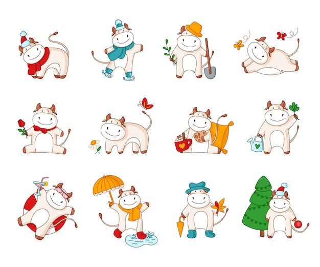 Biała kreskówka wół byka krowa - zestaw znaków kawaii na białym tle