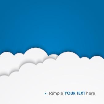 Biała księga chmur na niebieskim szablonie