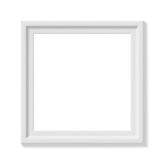Biała kwadratowa ramka na zdjęcia. minimalistyczna szczegółowa fotorealistyczna ramka. element graficzny do scrapbookingu, prezentacji dzieł sztuki, sieci, ulotek, plakatów. ilustracja wektorowa.