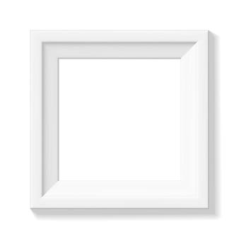 Biała kwadratowa ramka na zdjęcia. szeroka ramka lub mały obrazek. minimalistyczna fotorealistyczna ramka. element graficzny do scrapbookingu, prezentacji dzieł sztuki, sieci, ulotek, plakatów. ilustracja wektorowa.