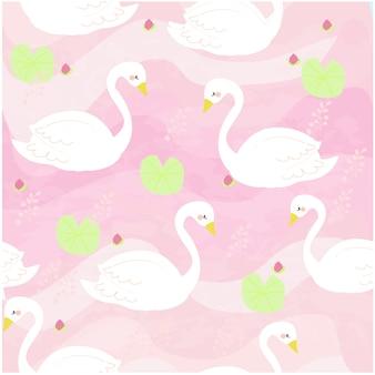 Biała łabędzia kreskówka różowa słodka rzeka