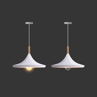 Biała lampa sufitowa. lampa jest izolowana na szarym tle.
