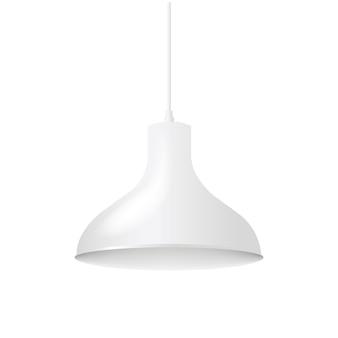 Biała lampa wisząca na białym tle