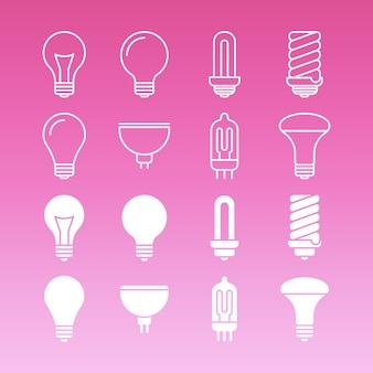 Biała lampa żarówki linii i kontur kolekcja ikon