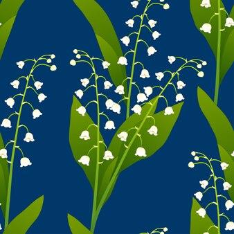 Biała leluja dolina na indygowym błękitnym tle