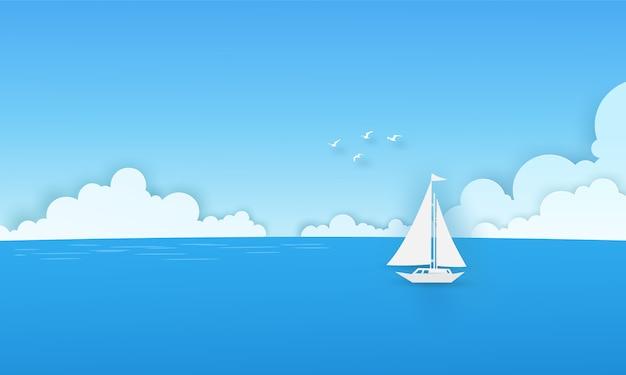 Biała łódź w morzu z chmurami, ptakami i niebieskiego nieba tłem. koncepcja sztuki papieru wektor.