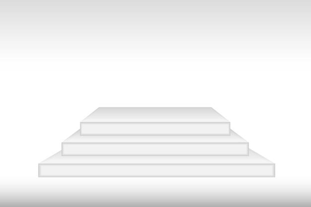 Biała makieta 3d podium w kształcie kwadratu. pusta scena lub cokole makieta na białym tle. podium lub platforma do ceremonii wręczenia nagród i prezentacji produktów. wektor