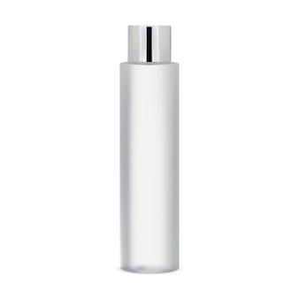 Biała makieta butelki kosmetycznej pakiet szamponu cylindrycznego wyizolowany produkt szklana butelka na toner do skóry