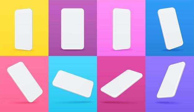 Biała makieta smartfona mobilnego z widokami perspektywicznymi pod różnymi kątami. ekran telefonu z pustym wyświetlaczem na kolorowych tłach.