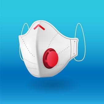 Biała maska medyczna pod różnymi kątami na niebiesko