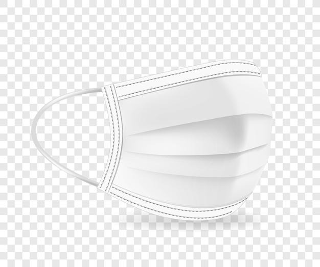 Biała maska ochronna na twarz ilustracja na przezroczystym tle