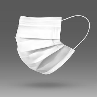 Biała maska ochronna na twarz lub maska medyczna. w celu ochrony koronawirusa i infekcji. maska medyczna na białym tle na szarym tle. realistyczna ilustracja wektorowa