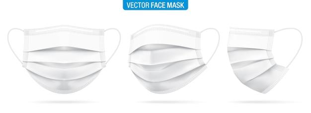 Biała medyczna maska na twarz z przodu, w trzech czwartych iz boku. zestaw masek ochronnych przed wirusem koronowym