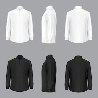 Biała męska koszulka z długimi rękawami i guzikami