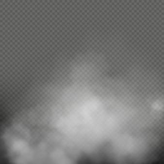 Biała mgła, dym lub mgła na przezroczystym tle. kompozycja z efektem specjalnym.