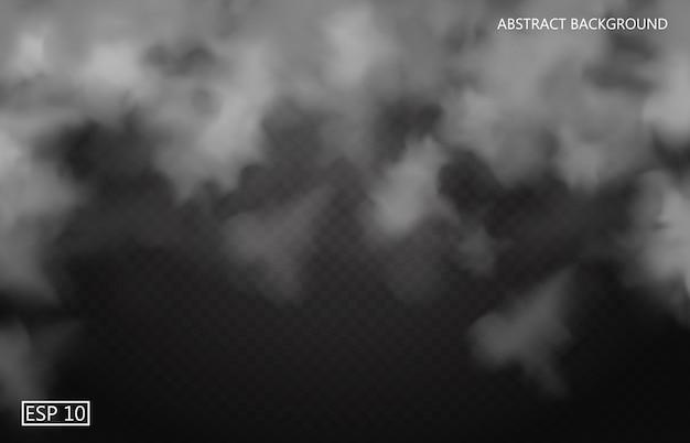 Biała mgła lub dym na ciemnym przezroczystym tle. zachmurzone niebo lub smog. ilustracja